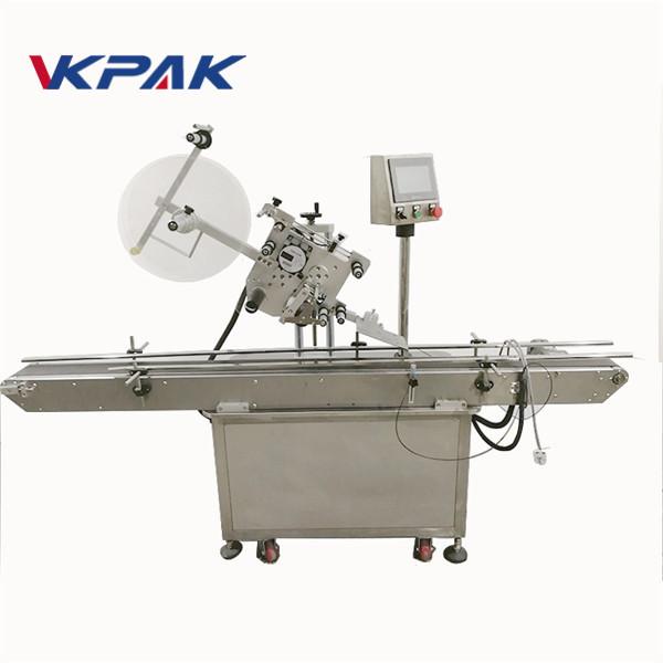 कैप के लिए चिपकने वाला प्रकार फ्लैट सतह लेबलिंग मशीन शीर्ष लेबल