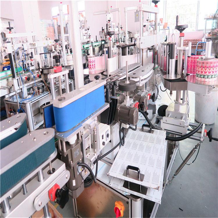 विभिन्न फ्लैट स्क्वायर बोतल जार के लिए बोतल डबल साइड लेबलिंग मशीन